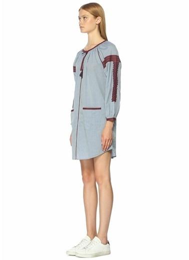 Etnik Desen Nakışlı Mini Elbise-Joie